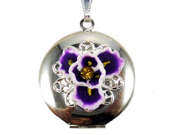 Purple Iris Locket Necklace - Iris Flower Jewelry Collection, February Birthday Birth Flower