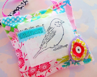 Stamped Bird Kindness Pillow Hanging Decor