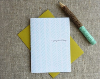 Letterpress Greeting Card - Birthday Card - Chevron Illustration Pattern - EGP-188