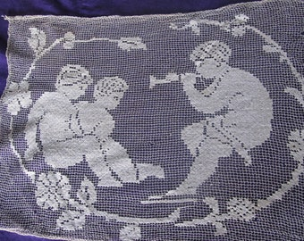 Antique Filet Lace Panel With Children, Putti, Ships Worldwide