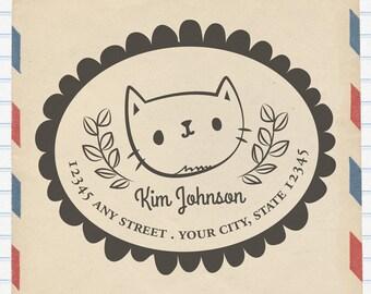 Return Address Stamp, Cat Address Rubberstamp: Personalize Address Stamp