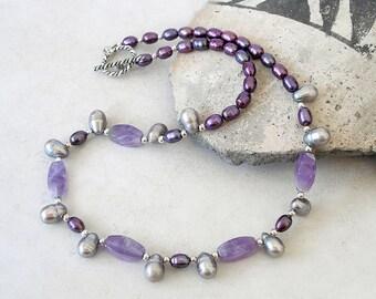 Purple Gemstone Necklace Amethyst Freshwater Pearl Sterling Silver Boho Beaded Jewelry Set