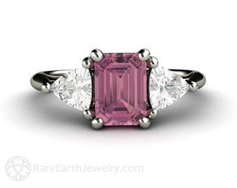 Pink Tourmaline Ring Vintage Engagement Ring 3 Stone Ring Sapphire Trillions 14K or 18K Gold Pink Gemstone Ring October Birthstone