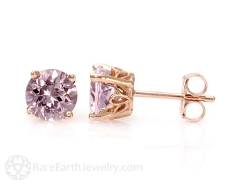 Rose de France Amethyst Earrings 8mm Pink Amethyst Stud Earrings 14K White Yellow or Rose Gold Post Earrings