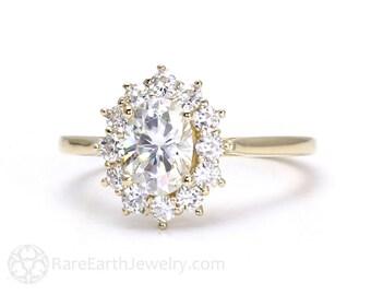 Moissanite Ring Oval Halo Cluster Forever Brilliant Moissanite Engagement Ring Conflict Free Diamond Alternative 14K Gold