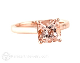 Cushion Morganite Ring Rose Gold Morganite Engagement Ring Solitaire 14K or 18K White Yellow Rose Gold