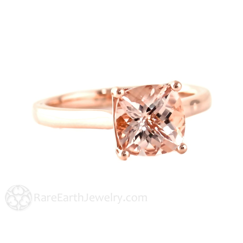Cushion Morganite Ring Rose Gold Morganite Engagement Ring