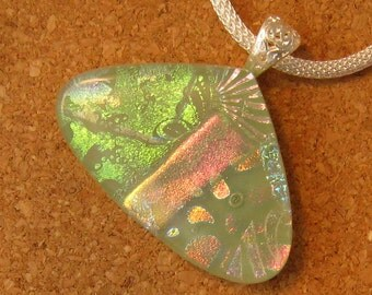 Fused Glass Pendant - Dichroic Pendant - Green Pendant - Fused Glass Jewelry - Dichroic Jewelry