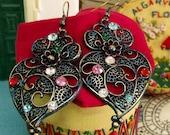 Portuguese folk Blue Viana heart earrings rhinestones