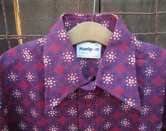 70s print shirt Wine calico vintage Shirt Men's deadstock shirt Purple Wine print art nouveau 70s Manhattan shirt Waverly M