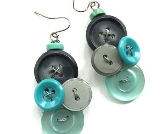 Aqua Teal and Charcoal Gray Vintage Button Dangle Earrings