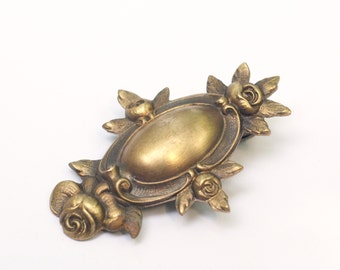 Victorian floral bridal hair clip wedding brass antique style wedding barrette