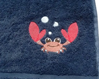 Crab Embroidered Hand Towel
