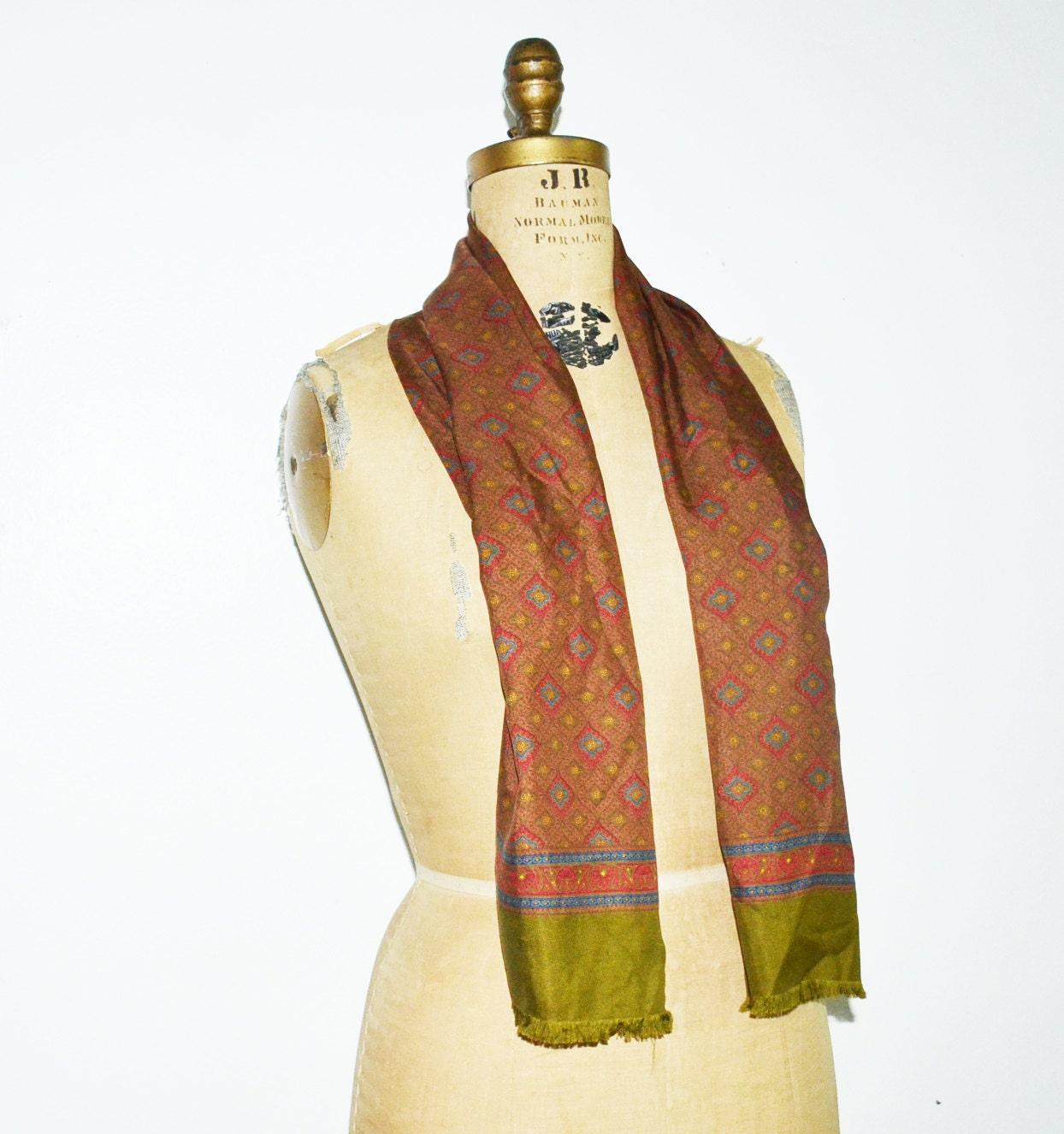 Men's silk scarf long silk opera foulard-vintage