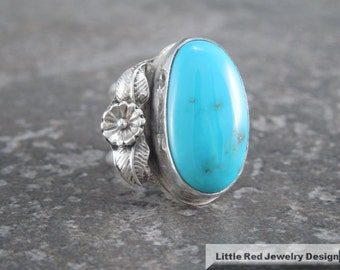 Handcrafted Sterling Silver Kingman Turquoise Ring - Size 7