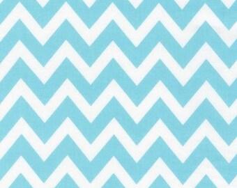 Chevron Fabric, Cotton Fabric by the Yard, Remix fabric by Ann Kelle and Robert Kaufman - Remix Medium Chevron in Aqua. You choose the cut