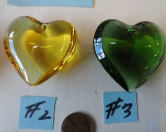 Choose your Color of Large Solid Glass Heart Center Piece  for Necklace  or Suncatcher CP 22
