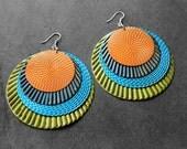 Big Earrings, Statement Earrings, Painted Earrings, Colorful, Metal Earrings, Large Earrings, For Her, Mursi Painted Metal Earrings