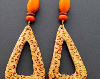 Wood Earrings, Statement Earrings, Big Wood Earrings, African Earrings, Leopard Print, Orange, For Her, Wild Heart African Wood Earrings