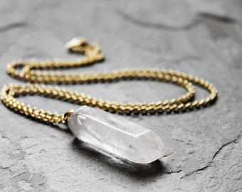 Natural Stone Necklace, Quartz Stone, Clear Quartz, Electroplated Gold Chain, Unisex, Ice Water Quartz Stone Chain Necklace
