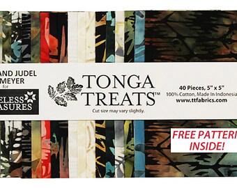"SALE 50% Off SQ11 Timeless Treasures CITYLIGHTS BATIKS Precut 5"" Tonga Treat Minis Fabric Cotton Quilting Squares"