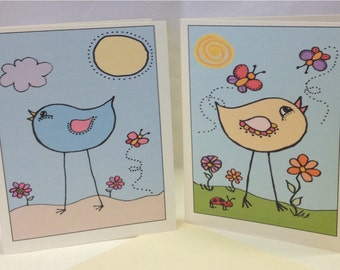 Hand Drawn Whimsical Greeting Cards - Happy Birds Series E - Blank - Choose Quantity - Choose Style - With Envelopes