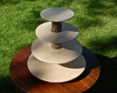 Cupcake or Pastry Stand (Holder / Tower) Four (4) Tier Wedding Special Event Rustic Elegant Wood Wooden Pickled Oak Finish