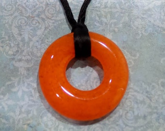 Orange Fused Glass Necklace, Ready to Ship, Orange Donut Pendant, Fused Glass Jewelry - Autumn Colors - 5