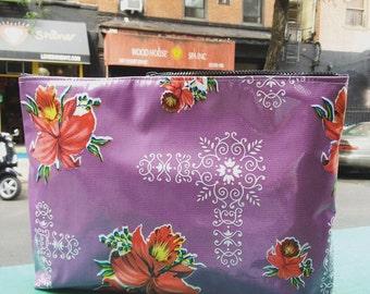 """Women's 14"""" Purple Floral Oil Cloth Laptop/Portfolio Case, Oil Cloth Clutch Bag,"""