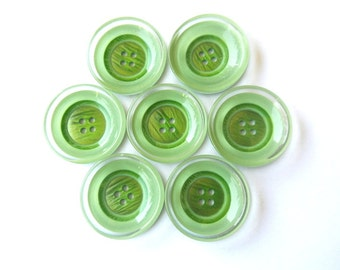 6 Plastic buttons , new buttons, green shades 38mm, beautiful high quality buttons