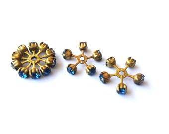 2 SWAROVSKI CRYSTAL beads, vintage,  flower shape brass setting with blue crystals- RARE