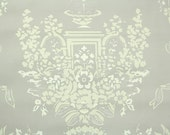 1950's Vintage Wallpaper - Floral Wallpaper of White and Cream Roses with Fountain and Ribbon on Gray