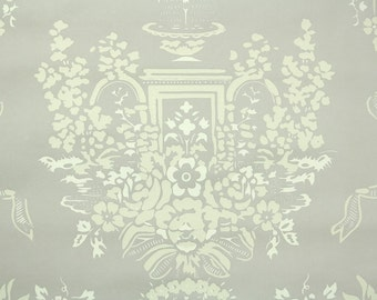 1950s Vintage Wallpaper by the Yard - Floral Wallpaper of White and Cream Roses with Fountain and Ribbon on Gray