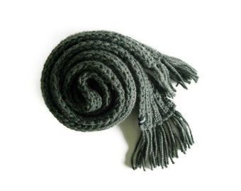 Chunky Knit Scarf, Wool Item, Dark Gray Wool Scarf, Hand Knit Scarf, Long Scarf, Winter Scarf, Women Scarves, Man Scarf, Scarf with Fringes