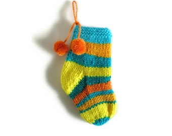 Yellow Cyan Stocking Stuffer for Kids - Hand Knitted Christmas Sock with Pom Pom