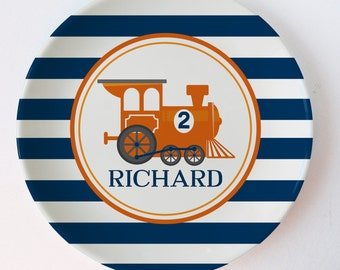 Train Plate, personalized with name and age, orange and navy