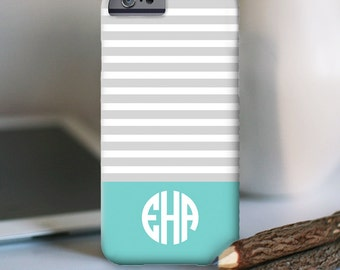 iPhone 7 Personalized Case  - Skinny Stripes with monogram  - other models available