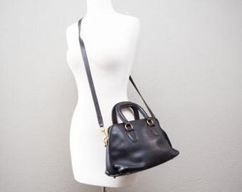 Vintage Coach Black Baxter Leather Doctor Bag Speedy Satchel Bag Purse Crossbody Bonnie Cashin