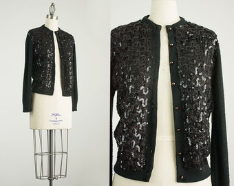 60s Vintage Black Sequins And Lace Cardigan Sweater / Size Small