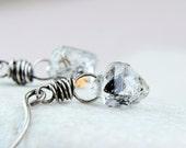 Herkimer  Earrings  Oxidized Silver  Diamond Quartz  Rustic Jewelry Chunky Nugget Earrings  Clear Gemstone Jewelry  Oxidized Jewelry