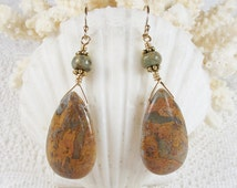 Opalized Jasper Earrings - Smooth African Opal Jasper Drops and Rondelles, Gold Vermeil, Gold Filled, Handmade, Optional Leverbacks (E0608)
