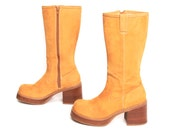 size 8 CANDIES yellow tan leather 80s 90s CHUNKY PLATFORM zip up tall boots