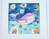 Whale Painting / Ocean Original Watercolor Art / Watercolour Children's Art / Sea Creature Nursery Decor