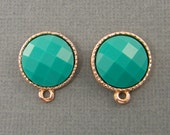 Green Earring Findings Teal Rose Gold Posts with Loop Faceted Cab Stud Jewelry Supply |GR9-16|2