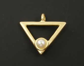 Gold Triangle Pendant Geometric Brushed Gold Open Triangle White Pearl Necklace Jewelry Component |G8-1|1