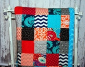 Nursery Quilt, Baby Quilt, Patchwork Quilt, Blue Cuddle Minky Backed Quilt
