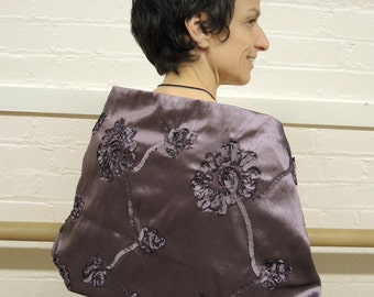 Large lilac Opera wrap in ribbon taffeta- LAST ONE- made to order