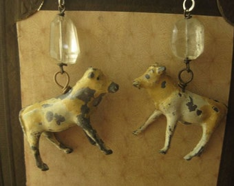 Golden and Guernsey ~ antique lead cow gemstone earring dangles