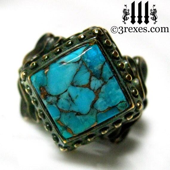Victorian Cocktail Ring Gothic Turquoise Dark Brass Raven Love Size 8