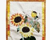 sunflower fabric art wall hanging, summer sunflowers fabric applique, sunflower wall decor, yellow floral decor